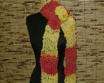Hand Knitted Scarf Yellow Tomato