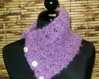 Hand Knitted Lilac Scarflette