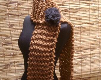 LENA SCARF Hazelnut Hand Knit