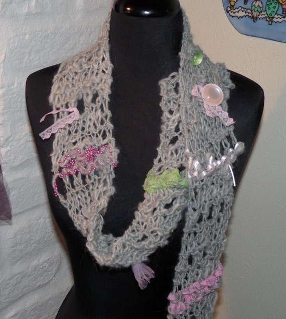 Silver Goddess Hand Knitted Wool Scarf