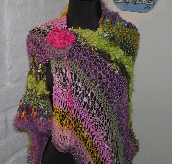 Hand Knitted Shawl Wild Flowers