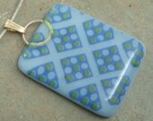 Blue glass necklace, Blue pendant necklace with Checker pattern