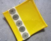 Mustard Yellow Glass plate, Square plate, Modern Home Decor