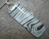 Faux Bois  Print, Fused Glass Pendant, Black & White Pendant Necklace