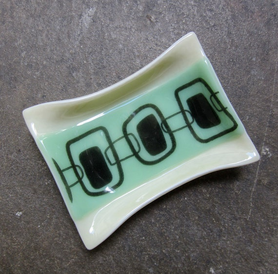 Mint green fused glass soap dish bathroom decor by for Green glass bath accessories