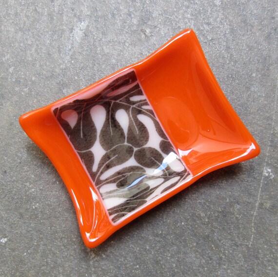 Orange Fused Glass Soap Dish, Bathroom Decor, Glass Home Decor, Leaf print