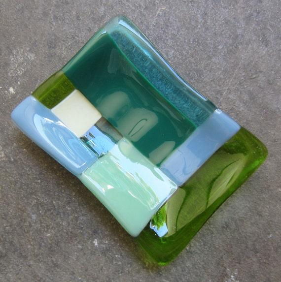 Multicolor glass soap dish with Color block in green, Bathroom decor