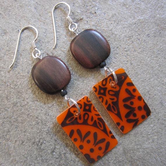 Glass & wood earrings, Dangle earrings, Orange earrings, lightweight earrings