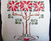 Hand Stenciled Poinsettias Pillow,  Arts and Crafts, Craftsman