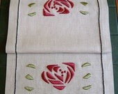 Silk Rose Table Scarf, Craftsman, Mission Style, Hand Embroidered
