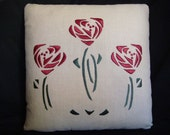 Hand Embroidered silk, Arts and Crafts, Craftsman Style, Roses Pillow