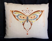 Hand Embroidered Butterfly Silk Pillow, Arts and Crafts, Craftsman Style