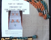 Cone Flower Table Runner Embroidery Kit Arts and Crafts Craftsman Style