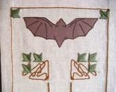 Bat Motif Table Runner Embroidery Kit Craftsman Style