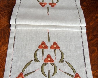 Hand Embroidered Table Runner, Arts and Crafts, Mission Style, Spiderwort Motif