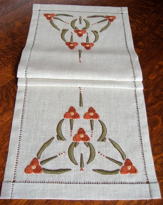 Hand embroidered table runner arts and crafts mission style for Arts and crafts style table