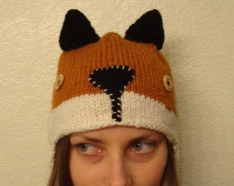 RED FOX hand knit hat --- bobcathats