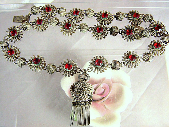 RESERVED FOR CRYSTAL Vintage Art Deco Wirework Necklace With Red Crystals