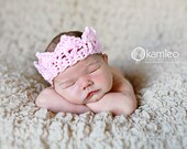 Crochet Crown, Newborn, Photography Prop, Light Pink