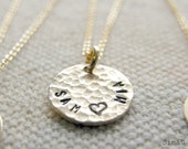 One Dainty & Simple  Hammered Gold Disc - Personalized It --- Simag