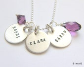 MOTHER necklace   - stamped with your   name - your word -your   letter ... in HEBREW or ENGLISH  on sterling silver- Simag