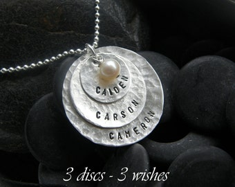 3-  w i s h e s   - - -  3- d i s c s    - - -  sterling silver  - custom personalized jewelry - -  by simag