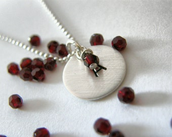 Your Initial On Sterling Silver  Thick Disc With Your Birthstone - Simag