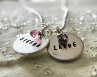 Your name  - your word - your letter - on sterling silver  discs  with YOUR BIRTHSTONE - Simag