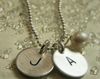 Your Initial - Personalized It ... In Hebrew Or English On A Sterling Silver THICK Discs With Pearl - SIMAG