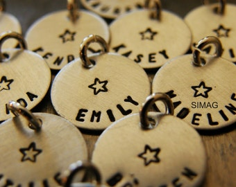 ADD A CHARM - Personalized It in hebrew ir englisg Sterling Silver Thicker Disc -You may order with or without the star - Simag