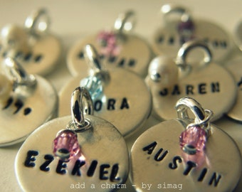 add a charm- Personalized It in HEBREW or ENGLISH - Sterling Silver Thicker Disc - Simag