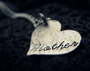 Mother   - Custom Cursive - hand stamped personalized jewelry - By Simag