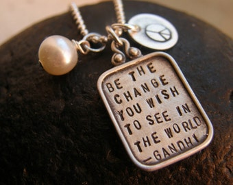 Graduation Gift - Be The Change  - quotation by Mahatma Gandhi  - Sterling Silver Charm  -Simag