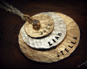 Hand Stamped Jewelry - Personalized Your Charm -  Gold Filled discs and Sterling Silver disc with CZ - Hand Made By Simag