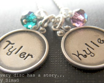 Every Disc Has A Story -- Sterling Silver Framed Rim Disc- Personalized Your Necklace In Hebrew OR English -SIMAG