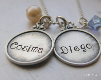 Every Disc Has A Story --Personalized Your Necklace In Hebrew OR English - Personalized Charm Necklaces For Mother Sister or Friend -SimaG