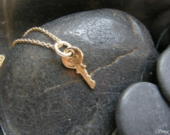 TINY key to your success necklace -  GOLD FILLED