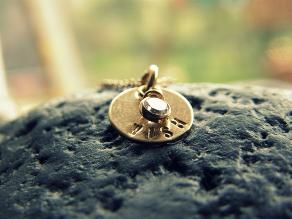 MAKE A WISH - One TINY - Smooth Gold Disc --- Personalized It --- Simag