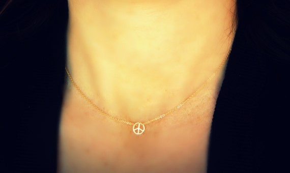 Peaceful Gold Filled necklace make a WISH - - Peace is not something you wish for -  It is something you make, Something you do - Love,Simag