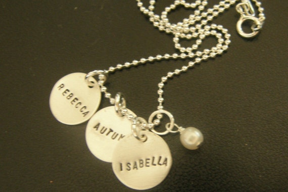 My Kids ----Three--- Handstamped One--Of- A- Kind Necklace