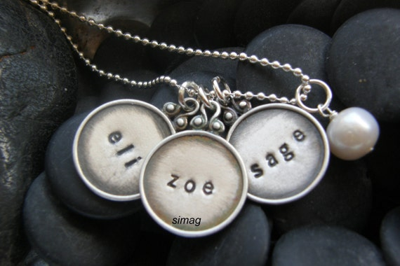 Every Disc Has A Story -custom ur name tag framed disc necklace - great gift for mother's day  - SimaG