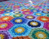 One-of-a-kind Crocheted Cotton Hexagon Blanket - Made in Finland - FREE SHIPPING