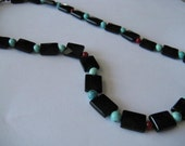 Onyx, Turquoise, and Coral Necklace