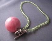 Pretty Peridot and Rhodochrosite Bracelet