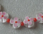 Bracelet of Lampwork Flower and Coral Beads