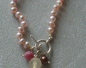 Lovely Hand-Knotted Pink Pearl Necklace with Pearl, Rhodonite, and Carnelian Drops