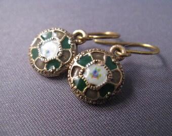 Petite Green Enamel Earrings