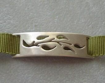 Silver Branch Ribbon Bracelet or Choker Necklace - Sage Green