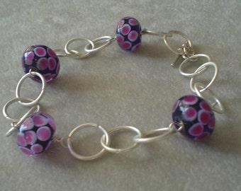 Fun Purple Lampwork Bead and Silver Ring Bracelet