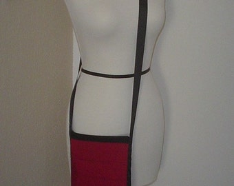 Ruby Red and Black Grosgrain Ribbon Purse